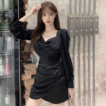 Dress Spring 2021 Gray, black S,M,L Middle-skirt singleton  Long sleeves commute square neck middle-waisted Solid color Socket other puff sleeve Others 18-24 years old T-type Korean version Open back, chain, fold 31% (inclusive) - 50% (inclusive) other polyester fiber