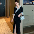 Dress Spring 2021 black S,M,L Mid length dress singleton  elbow sleeve commute V-neck middle-waisted Solid color zipper other pagoda sleeve Others 18-24 years old Type H Korean version Ruffles, stitching, mesh polyester fiber