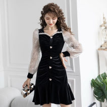 Dress Autumn 2020 black S,M,L,XL Short skirt singleton  Long sleeves commute square neck High waist character Socket Ruffle Skirt bishop sleeve Others 18-24 years old Type A Korean version Button, fold, Ruffle other