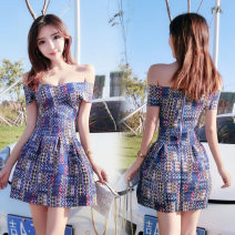 Dress Summer of 2019 Geometric blue, orange pink S,M,L Short skirt singleton  Short sleeve commute V-neck High waist Abstract pattern zipper A-line skirt routine Breast wrapping 18-24 years old Type A Other / other Korean version Zipper, open back 51% (inclusive) - 70% (inclusive)