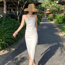 Dress Summer 2021 White, champagne S,M,L Mid length dress singleton  Sleeveless commute V-neck High waist Solid color Socket other camisole 18-24 years old Type H lady Bright silk