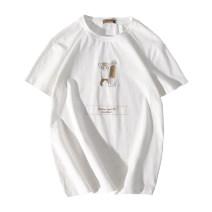 T-shirt Youth fashion White, dark grey, dark pink routine M,L,XL,XXL,XXXL Others Short sleeve Crew neck easy daily summer youth Off shoulder sleeve tide cotton