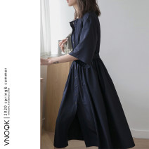 Dress Summer 2020 Navy Blue XS,S.,M.,L. singleton  elbow sleeve commute High waist Solid color Single breasted raglan sleeve Others Type A vnook 71% (inclusive) - 80% (inclusive) other