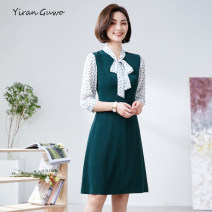 Dress Summer 2021 S M L XL 2XL 3XL Mid length dress Fake two pieces three quarter sleeve commute Scarf Collar middle-waisted Solid color Socket A-line skirt routine Others 35-39 years old Type X Yi Ran is me Ol style Lace up button zipper 51% (inclusive) - 70% (inclusive) other polyester fiber