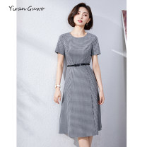 Dress Summer 2021 S M L XL 2XL 3XL Mid length dress singleton  Short sleeve commute Crew neck middle-waisted lattice Socket A-line skirt routine Others 35-39 years old Type X Yi Ran is me Ol style Lace up zipper 51% (inclusive) - 70% (inclusive) other polyester fiber Pure e-commerce (online only)