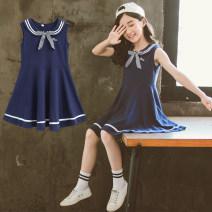 Dress Summer of 2019 Pink, Navy 110cm,120cm,130cm,140cm,150cm,160cm Mid length dress singleton  Sleeveless commute Crew neck Loose waist Ruffle Skirt straps Under 17 Type A Korean version 71% (inclusive) - 80% (inclusive) cotton