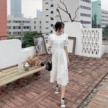 Dress Spring 2021 White, light blue S, M longuette singleton  Short sleeve commute Double collar High waist Solid color Single breasted Pleated skirt routine Others 25-29 years old Type A lady fold 81% (inclusive) - 90% (inclusive) other cotton
