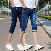 Jeans Youth fashion Others 27,28,29,30,31,32,33,34,36 Thin money Micro bomb Thin denim Cropped Trousers Other leisure summer teenagers middle-waisted Slim feet Youthful vigor 2018 Little straight foot zipper Water wash, snow wash Three dimensional tailoring cotton