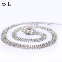 Belt / belt / chain Metal Beautiful silver classic YaHei female Waist chain Versatile Single loop Youth, middle age and old age a hook Diamond inlay Glossy surface 1.7cm alloy Bare weave inlaid tassel hollow diamond chain letter flower Sinaran SZ0876 Summer 2020 yes