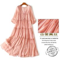 Dress Spring 2021 Pink XL,L,M,2XL longuette Two piece set three quarter sleeve street V-neck Loose waist Solid color Socket Big swing routine Others Type A Fungus, splicing More than 95% Crepe de Chine silk Europe and America