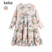 Dress Spring 2021 Picture color XS,S,M,L Short skirt singleton  Long sleeves commute Crew neck Loose waist Decor Socket A-line skirt routine Type A Retro Ruffle, print 81% (inclusive) - 90% (inclusive) other polyester fiber