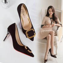Low top shoes 35 36 37 38 39 Sakura Kawabata Black pink off white Sharp point Fine heel PU Shallow mouth High heel (5-8cm) PU Spring of 2018 Trochanter Sweet Adhesive shoes Youth (18-40 years old) Solid color rubber Lazy shoes Shallow bow metal decoration PU daily Face dressing One One