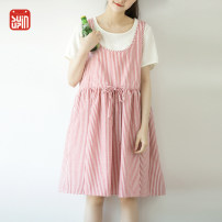 Dress Summer 2017 Red and white stripes Average size Mid length dress Fake two pieces Short sleeve commute Crew neck Loose waist stripe other Big swing routine Others 18-24 years old Type A Sun / Su Ying literature Two pieces of pleated stripes and false ones YL0629 31% (inclusive) - 50% (inclusive)