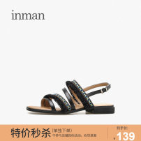Sandals 35 36 37 38 39 Caramel Brown Star Black Superfine fiber Inman / Inman Barefoot Flat heel Low heel (1-3cm) Summer of 2019 Flat buckle ethnic style Adhesive shoes Youth (18-40 years old) rubber daily Back space Fringes and ribbons combination Microfiber skin Microfiber skin XZL19X012