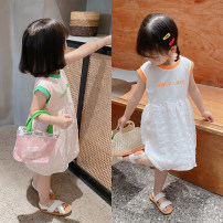 Dress Green edge, orange edge female Other / other 90cm,100cm,110cm,120cm,130cm,140cm Cotton 100% summer leisure time Short sleeve letter cotton Skirt / vest Class B 18 months, 2 years old, 3 years old, 4 years old, 5 years old, 6 years old Chinese Mainland Zhejiang Province Huzhou City