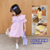 Dress Yellow, pink female Other / other 80cm,90cm,100cm,110cm,120cm,130cm Cotton 90% other 10% summer leisure time Short sleeve letter cotton Straight skirt Class B 18 months, 2 years old, 3 years old, 4 years old, 5 years old, 6 years old Chinese Mainland Zhejiang Province Huzhou City