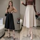 skirt Spring 2021 S,M,L,XL Apricot, black Mid length dress Versatile High waist Umbrella skirt Solid color Type A 25-29 years old brocade zipper
