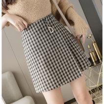 skirt Winter 2020 S,M,L,XL Short skirt commute High waist A-line skirt lattice Type A Wool Korean version