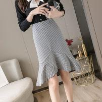 skirt Winter 2020 S,M,L,XL,2XL houndstooth  Mid length dress commute High waist Irregular houndstooth  Type A 51% (inclusive) - 70% (inclusive) brocade cotton Asymmetry Korean version 351g / m ^ 2 (including) - 400g / m ^ 2 (including)