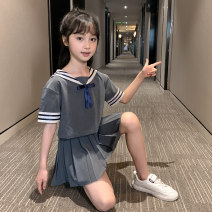 suit Other / other Grey Top + grey skirt, black top + grey skirt, pink top + white skirt 110cm,120cm,130cm,140cm,150cm,160cm,170cm female summer solar system Short sleeve + skirt 2 pieces routine There are models in the real shooting Socket nothing Solid color other children Learning reward Class B