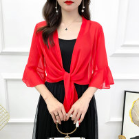 Lace / Chiffon Summer 2020 Red, white, black elbow sleeve Versatile Cardigan singleton  easy have cash less than that is registered in the accounts V-neck Solid color Petal sleeve 25-29 years old Bandage 51% (inclusive) - 70% (inclusive)