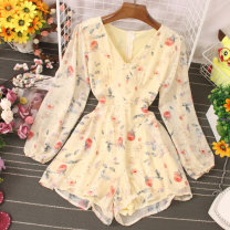 Dress Autumn 2020 Apricot, black, white S,M,L Short skirt singleton  Long sleeves commute V-neck High waist Broken flowers Socket puff sleeve 25-29 years old Type A Button, button 81% (inclusive) - 90% (inclusive) other polyester fiber