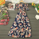 Dress Summer 2020 Navy, blue, black, apricot, jujube Average size Mid length dress singleton  Short sleeve commute One word collar High waist Broken flowers Socket A-line skirt Lotus leaf sleeve Type A Stitching, printing 81% (inclusive) - 90% (inclusive) other