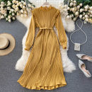 Dress Autumn 2020 Apricot, yellow, black, watermelon red, jujube red, pink Average size Middle-skirt singleton  Long sleeves commute High collar High waist Solid color Socket A-line skirt Others 18-24 years old Type A Korean version 51% (inclusive) - 70% (inclusive) other other