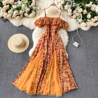 Dress Spring 2021 Sky blue, yellow, black, purple, orange Average size Mid length dress singleton  commute square neck High waist Decor Socket Big swing camisole 18-24 years old Type A Korean version 51% (inclusive) - 70% (inclusive) other