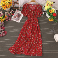 Dress Autumn 2020 Flower 1, flower 2, flower 3, flower 4, flower 5, flower 6, flower 7, flower 8 Average size Mid length dress singleton  Short sleeve commute Lotus leaf collar High waist Decor Single breasted A-line skirt routine Others 18-24 years old Type A Korean version