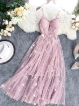 Dress Summer 2020 Black, light blue, pink, apricot Average size Mid length dress singleton  Sleeveless commute V-neck High waist Solid color Big swing camisole 18-24 years old Korean version