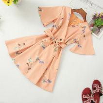 Dress Summer of 2019 Navy, light blue, white, orange M, L Middle-skirt singleton  elbow sleeve commute V-neck middle-waisted Socket A-line skirt pagoda sleeve Others Type A Korean version Lace up, stitching, printing 81% (inclusive) - 90% (inclusive) other