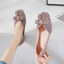 Low top shoes 35,36,37,38,39,40,41,42,43 Other / other Apricot, black, pink, green Square head Superfine fiber Flat bottom Low heel (1-3cm) Shallow mouth Superfine fiber Summer 2021 Trochanter Korean version Adhesive shoes Youth (18-40 years old) Solid color rubber Single shoes Microfiber skin daily