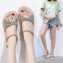 Sandals 35,36,37,38,39,40,41,42,43 Black, Khaki cloth Other / other Barefoot Flat bottom Middle heel (3-5cm) Summer 2021 Flat buckle solar system lattice Adhesive shoes Youth (18-40 years old) rubber daily Ankle strap Low Gang Hollow Microfiber skin Microfiber skin Roman shoes
