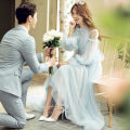 Wedding dress Summer of 2018 A piece of Seiko women's wear Average size Long tail Bandage Outdoor Lawn  Netting Three dimensional cutting middle-waisted 18-25 years old flower Sleeved shawl Large size Non handmade flower Netting