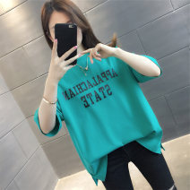T-shirt Black white green yellow S M L XL Summer 2021 Short sleeve Crew neck easy Regular routine commute other 96% and above Korean version classic letter vee fly VE15733HTCX215675722 printing Other 100% Pure e-commerce (online only)