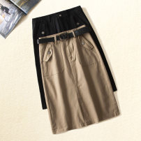 skirt Spring 2021 26/S,27/M,28/L,29/XL,30/2XL,31/3XL Khaki, black longuette commute High waist A-line skirt Solid color Type H 25-29 years old XBY02 More than 95% Denim Other / other cotton bow Korean version