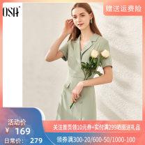 Dress Summer 2020 Green bean paste S M L XL Short skirt singleton  Short sleeve commute V-neck other other 25-29 years old OSA Ol style Pocket button S120QB13017 More than 95% polyester fiber Polyester 96.8% polyurethane elastic fiber (spandex) 3.2%