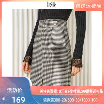 skirt Winter of 2019 S M L XL Black and white Middle-skirt commute Natural waist A-line skirt lattice Type A 25-29 years old S119QD51018 More than 95% OSA polyester fiber Button Ol style Polyester 100%