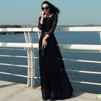 Dress Spring 2021 Black belt with square buckle, black without belt S,M,L,XL,2XL,3XL longuette singleton  three quarter sleeve street Crew neck High waist Socket Big swing routine 25-29 years old Lace, lace Lace round neck dress 81% (inclusive) - 90% (inclusive) Lace polyester fiber