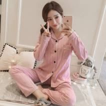 Pajamas / housewear set female Other / other M (recommended 80-90 kg), l (recommended 95-110 kg), XL (recommended 115-130 kg), XXL (recommended 130-150 kg), XXXL (recommended 150-165 kg) Polyester (polyester) Long sleeves Sweet pajamas autumn routine Small lapel Plants and flowers trousers 2 pieces