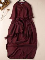 Dress Spring 2021 Lake blue, dark red, green S,M,L Mid length dress singleton  elbow sleeve Socket More than 95% cotton