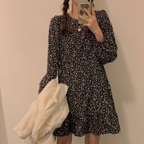 Dress Spring 2021 Floral skirt Average size Middle-skirt singleton  Long sleeves Sweet Crew neck Loose waist Broken flowers Socket Ruffle Skirt other Others 18-24 years old Type A 31% (inclusive) - 50% (inclusive) Chiffon college