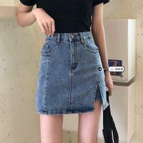 skirt Summer 2021 S,M,L,XL blue Short skirt commute High waist skirt Solid color Type A 18-24 years old 71% (inclusive) - 80% (inclusive) Denim Pockets, zippers, buttons Korean version