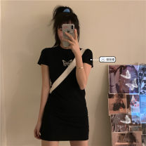 Dress Summer 2021 black Average size Short skirt singleton  Short sleeve commute Crew neck High waist Cartoon animation Socket A-line skirt routine Others Under 17 Type A Korean version Embroidery 31% (inclusive) - 50% (inclusive) other