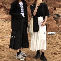 skirt Summer 2021 Average size White, blue, black longuette commute High waist A-line skirt Solid color Type A Under 17 31% (inclusive) - 50% (inclusive) Splicing Korean version
