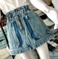 skirt Summer 2020 XS,S,M,L Deconstruction Short skirt commute High waist A-line skirt Solid color Type A 30% and below other cotton Button, zipper, resin fixation, stitching, 3D, patching Retro
