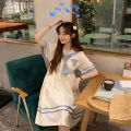 Dress Summer 2021 white S,M,L,XL Mid length dress singleton  Short sleeve Sweet Admiral High waist Solid color Socket A-line skirt routine 18-24 years old Type A Q2014 51% (inclusive) - 70% (inclusive) other cotton college