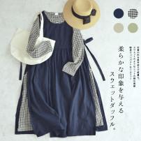 Dress Autumn 2020 Average size longuette Sweet Solid color cotton Mori