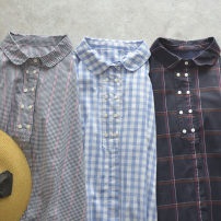 Dress Summer 2021 Clear sky blue, black fine grid, deep hidden blue big grid Average size Mid length dress singleton  Short sleeve Polo collar Loose waist lattice Single breasted A-line skirt routine 18-24 years old Type A NATULAN / Natulan Button More than 95% cotton
